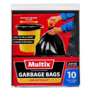 Multix Extra Large & Extra Wide Drawtight Garbage Bags 10 pack