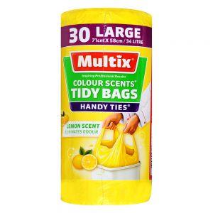 Multix Colour Scents Handy Ties Tidy Bags Large 30 pack | Lemon Scent