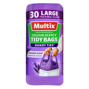 Multix Colour Scents Handy Ties Tidy Bags Large 30 pack | Lavender Scent