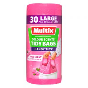 Multix Colour Scents Handy Ties Tidy Bags Large 30 pack | Rose Scent