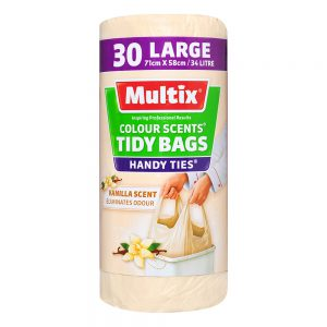 Multix Colour Scents Handy Ties Tidy Bags Large 30 pack | Vanilla Scent