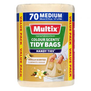 Multix Colour Scents Handy Ties Tidy Bags Medium 70 pack | Vanilla Scent