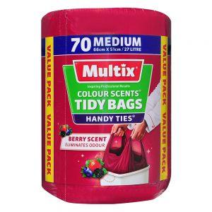 Multix Colour Scents Handy Ties Tidy Bags Medium 70 pack | Berry Scent
