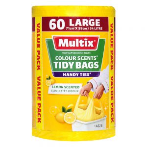 Multix Colour Scents Handy Ties Tidy Bags Large 60 pack | Lemon Scent