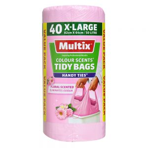 Multix Colour Scents Handy Ties Tidy Bags X-large 40 pack | Floral Scent