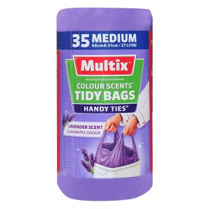 Multix Colour Scents Handy Ties Tidy Bags Medium 35 Pack | Lavender Scent