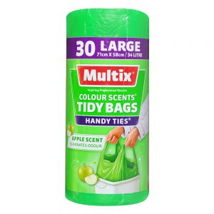 Multix Colour Scents Handy Ties Tidy Bags Large 30 pack | Apple Scent
