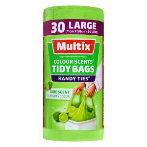 Multix Colour Scents Handy Ties Tidy Bags Large 30 pack | Lime Scent