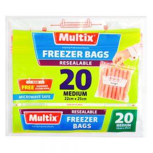 Multix Resealable Freezer Bags Medium 20 pack