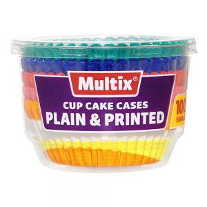 Multix Cup Cake Cases Plain & Printed Small 100 pack