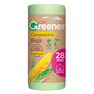 Multix Greener Compostable Kitchen Tidy Bags Mini 28 pack