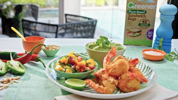 Almond Crusted Prawns and Guacamole