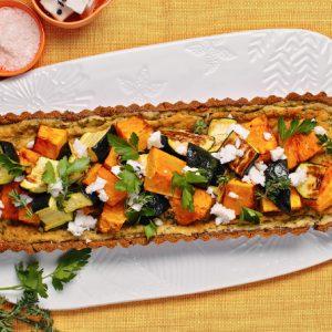 Roast pumpkin and zucchini tart